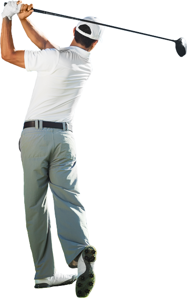 Male in golf swing finish pose
